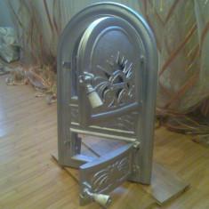 Metal/Fonta, Altul - Usa pentru Soba Teracota Argintie, Turnata din fonta Dubla cu Cenusar Rustica !