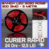 ROLA BANDA 300 LED - LEDURI SMD 5050 ROSU (ROSIE, ROSI) - 5 METRI, IMPERMEABILA (WATERPROOF), FLEXIBILA ZDM