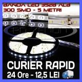 ROLA BANDA 300 LED - LEDURI SMD 3528 ALB (ALBA, ALBE) - 5 METRI, IMPERMEABILA (WATERPROOF), FLEXIBILA ZDM
