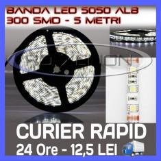 Iluminat decorativ ZDM - ROLA BANDA 300 LED - LEDURI SMD 5050 ALB (ALBA, ALBE) - 5 METRI, IMPERMEABILA (WATERPROOF), FLEXIBILA