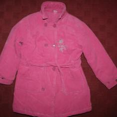 Palton gros din catifea raiata pt.fetite mar.122, Culoare: Roz, Roz, Fete