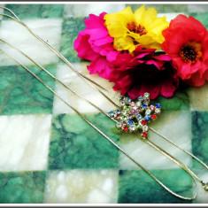 AuX: LANTISOR ptr. fete realizat din metal, sistem de reglaj ingenios cu medalion in forma de frunza cu pietricele multicolore si clopotei-inimioara! - Lantisor inox, Femei