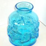 Vaza cristal albastru saphire hand blown - design Amie Stalkrantz Mantorp Suedia - Vaza sticla