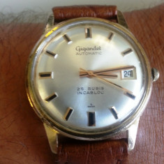 Ceas barbatesc, Piele, 1940 - 1969 - GIGANDET Automatic - 25 Rubis - INCABLOC - SWISS - vintage anii 1950-1960