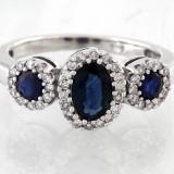 INEL SUPERB AUR ALB 14KRT CU SAFIRE 2, 5KRT SI DIAMANTE 0, 55KRT - Inel diamant, 46 - 56