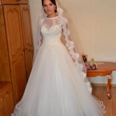 Rochie de mireasa printesa - Rochie mireasa Maya Fashion mar.38 - 62 cm talie- alb ivoire purtata o data