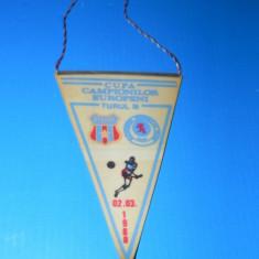 FANION FOTBAL CUPA CAMPIONILOR EUROPENI STEAUA BUCURESTI - GLASGOW RANGERS 2 MARTIE 1988 (01198)