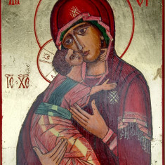 Icoana pe lemn - ICOANE pictate pe lemn: Maica Domnului Hodighitria (Povatuitoarea), Iisus Hristos Pantocrator (Atotputernicul). Stil bizantin. Cadou de Paste, oferta