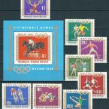 MONGOLIA 1968 - JOCURI OLIMPICE - SERIE+COLITA NESTAMPILATA MNH (SERIE COMPLETA)