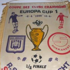 Fanion fotbal ANDERLECHT - STEAUA BUCURESTI semifinala CCE `86 (format mare)