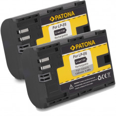 PATONA | 2 Acumulatori compatibili Canon LP-E6 LPE6 LP E6 | 1300mAh - Baterie Aparat foto