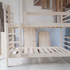 Pat etajat din lemn masiv pentru copii - Pat dormitor