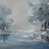 Tablou ulei- IARNA PE LAC