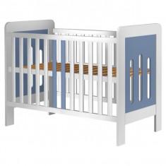 Patut lemn pentru bebelusi - Patut copii din lemn Sophie 120 x 60 cm Alb-Albastru Hubners