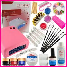 Kit Unghii Gel Avantajos cu Lampa UV profesionala geluri uv si accesorii unghii - Unghii false