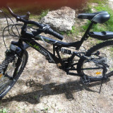 Mountain Bike Nespecificat, 22 inch, 24 inch, Numar viteze: 18, Negru, V-brake - Bicicletă MTB complet echipată, pentru persoane cu înălțime 150-170 cm