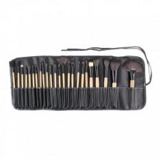 Pensula make-up - 24 Pensule Profesionale Make Up - Kit + Borseta Piele