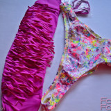 VICTORIA'S SECRET USA VS BEACH SEXY Fringe Bandeau Itsy Bottom Costum de baie ML