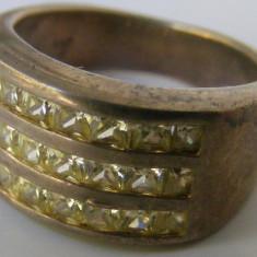 Inel argint - Inel vechi din argint cu 21 pietre albe - de colectie