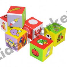 Set 6 cuburi ilustrate, din burete cauciucat - Jucarie pentru patut