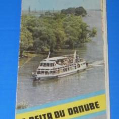 Harta Turistica - HARTA DELTA DUNARII PERIOADA COMUNISTA. TEXT FRANCEZA (00660