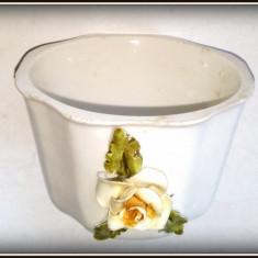Suport vintage portelan pentru candela cu motiv floral - Italia