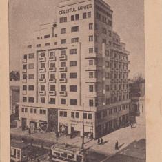 BUCURESTI, BL.I.C.BRATIANU, CREDITUL MINIER, MERCEDES BENZ, TRAMVAIE - Carte Postala Muntenia 1904-1918, Necirculata, Printata
