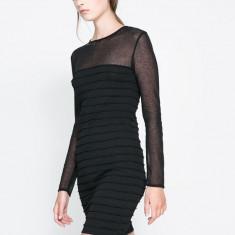 Noua! Rochie neagra ZARA knit, cu insertii transparente, masura M - Rochie office Zara, Culoare: Negru, Marime: M, Mini, Lunga