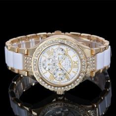 Ceas de Dama Geneva - Ceas dama FASHION curea metal auriu si plastic alb mat + cutie simpla cadou