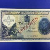 SPECIMEN 5000 LEI 1931 SUPRATIPAR 1940 UNC FOARTE RAR