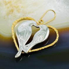Pandantiv model Inima si Porumbei, Placat cu Aur 18k, cod 358 - Colier placate cu aur