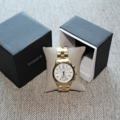 Ceas TIMEX Gold Chrono Indiglo Lady 100% Original (Metalic / iluminare / NOU) - Ceas dama Timex, Elegant, Quartz, Inox, Cronograf