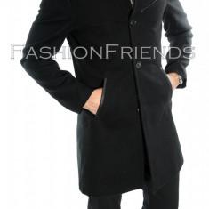 Palton tip ZARA negru - palton barbati - palton slim fit - cod 5749