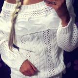 Bluza dama - BL574-2 Pulover tricotat cu torsade si guler tip barcuta