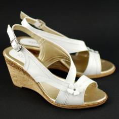 Sandale dama cu platforma din piele naturala Alb - Made in Romania