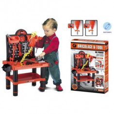 Scule si unelte - Jucarie constructiva - banc de scule mare cu bormasina electrica pentru copii