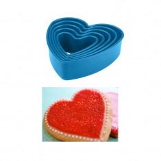 Set 5 forme plastic inima prajituri si biscuiti