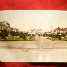 Ilustrata clasica Turnu Severin - Parcul si Primaria circulat 1903 Spic Grau - Carte Postala Banat pana la 1904, Circulata, Printata