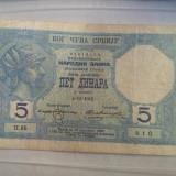 5 DINARA -4-11-1916 -YUGOSLAVIA-FOARTE RARA!! - bancnota europa