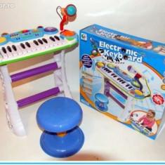Instrumente muzicale copii - Orga cu scaunel si microfon functional - O jucarie pentru fetite si baieti