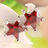 Cercei argint - Cercei din argint decorati cu pietre semipretioase rosii in forma de stea #016