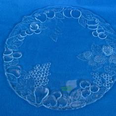 Fructiera sticla - PLATOU CIRCULAR TORTURI / PRAJITURI DIN STICLA SUPERIOARA, MODEL CU FRUCTE