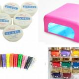 set unghii false cu gel constructie kit set manichiura lampa uv geluri color