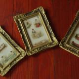Lot 3 bucati -- rama deosebita din lemn cu sticla - imagini vechi pe tema medicala dint-o carte de medicina  sfarsit a secol XIX !!!