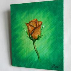 Boboc de trandafir 2. Pictura in ulei pe panza