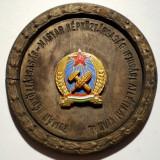 5.627 ROMANIA UNGARIA MEDALIE CONCURS ATLETISM JUNIORI TINERET 1951 50mm, cutie