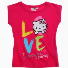 Tricou maneca scurta 4-10 ani - Hello Kitty - art 107992 corai, Marime: Alta, Culoare: Roz