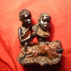 Statueta Arta Africana - Cuplu tineri - Suvenir, h= 10 cm - Arta din Africa