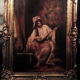 Tablou vechi ulei pe panza artist gen Th Aman nesemnat original superb - Pictor roman, An: 1900, Portrete, Impresionism
