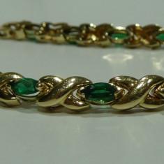 Bratara din aur, 14 carate - Bratara aur 14k cu smaralde